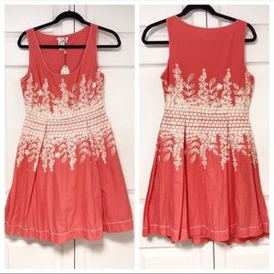Sophie Max Sleeveless Embroidered Coral Dress S